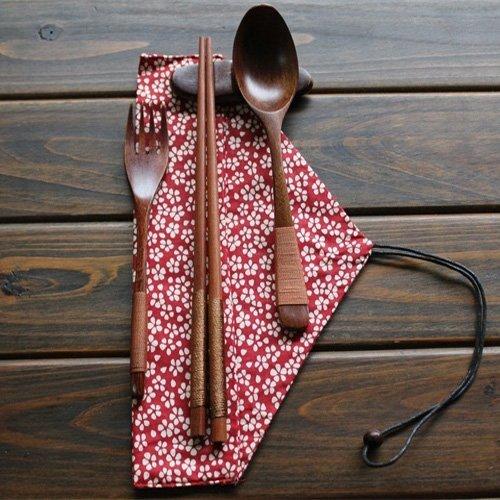 Ecloud Shop® Naturelles en bois Ensembles Vaisselle de 5 pièces (1 cuillère, 1 Baguettes, 1 fourchette, 1 Porte Baguettes, 1 table Sac floral rouge)