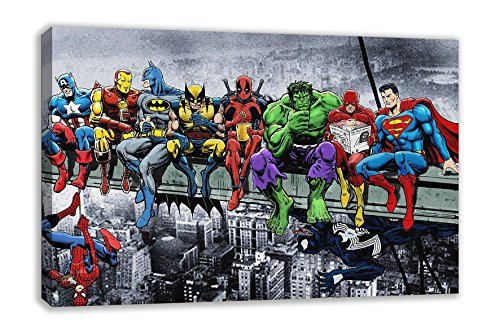 marvel-dc-comic-superheroes-girder-lunch-atop-skyscraper-canvas-art-30x18