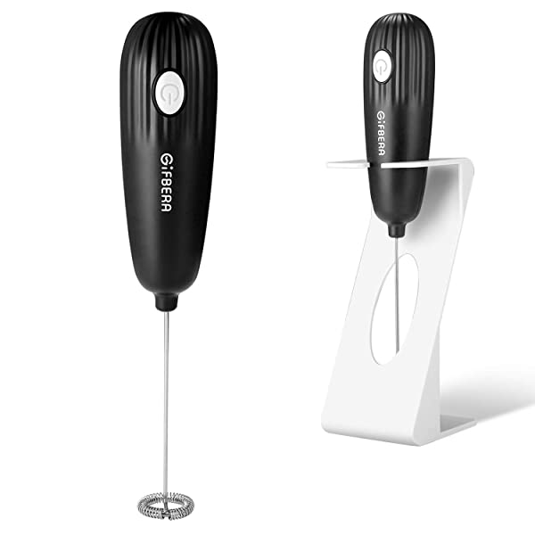 Gifbera Coffee Mixer Milk Frother Handheld Electric Battery Operated Foam Maker for Coffee Lattes, Cappuccino, Hot Chocolate, Frappe, Drink Mixer With