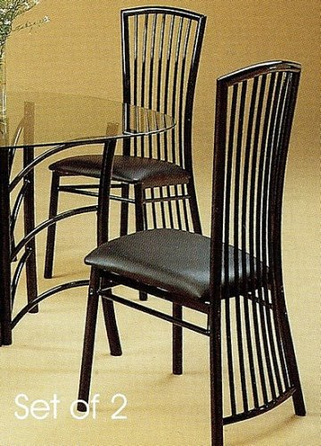 Set of 2 Glossy Black Italian Style High Back Dining Chairs
