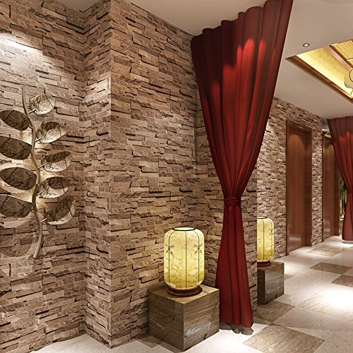 Brick stone 3d wallpaper nature visual effect cleanable for 3d stone wallpaper for walls