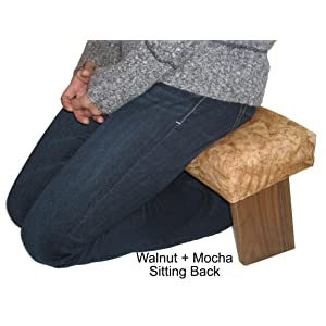 Folding Prayer Bench Walnut Meditation Bench Upholstered In Earth Batik Fabric To Enhance Your
