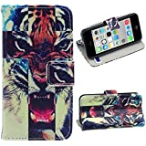 Malloom® Brand New Cute Stand Flip Leather Cover Case For iPhone 5C (Tiger)