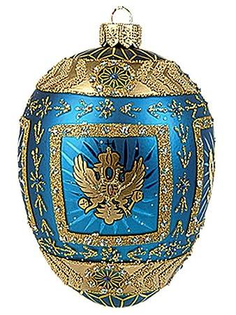 Blue Eagle Egg Polish Mouth Blown Glass Easter Ornament