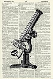 MICROSCOPE - Science Illustration - Art Print - Vintage Dictionary Art Print - Illustration - Wall Hanging - Wall Art - Home Décor - Upcycled Page - Mixed Media Original 505DF
