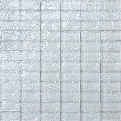 3 pezzi 30 x 30 bianco textured lava vetro mattoni per bagno e cucina funzione mosaico piastrelle foglio mt0118