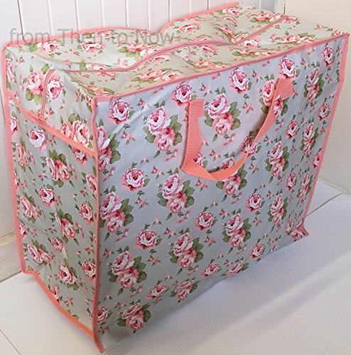 86673c424c604f Cheap Price Jumbo Reusable Vintage Floral Laundry Storage Recycled Bag  (Grey & Pink Roses)