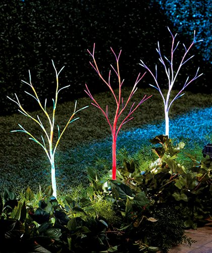 Set of color changing solar light trees decorative