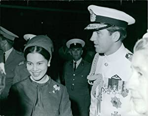 Vintage photo of Queen Sirikit greeted by Military Officials. 1964.