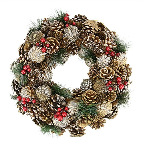 Northlight Unlit Natural Glitter Pine Cone and Berries Artificial Christmas Wreath, 13.5""