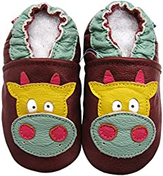 Carozoo Baby Boys\' Cow brown C1 24-36m Soft Sole Leather Shoes