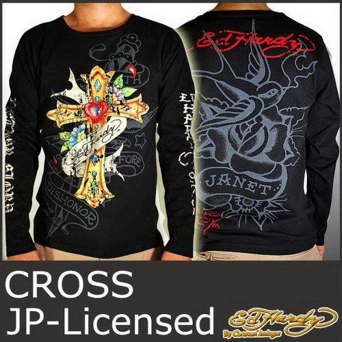 (エド・ハーディー)ED HARDY ロンT クロス 十字架 エドハーディー 5254 -M 黒 長袖 Tシャツ MENS EDHARDY JAPAN LICENSED CROSS TEE EDLT007