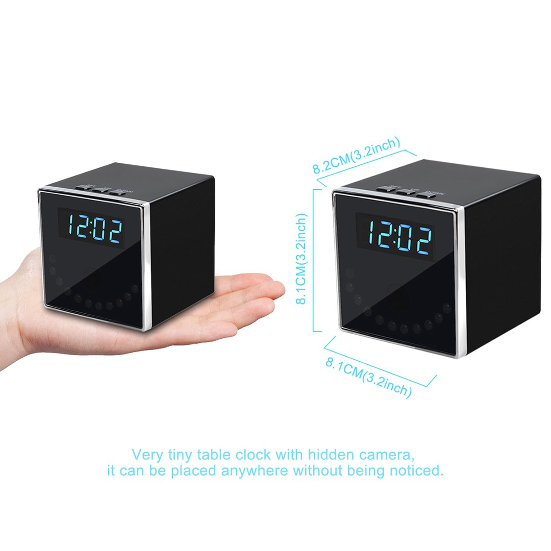 Corprit Wireless Hidden Spy Camera Network IP Nanny Cam HD 1080P WiFi Home Security Camera Black Cube Table Alarm Clock Surveillance Mini DVR, Free 16GB Micro SD Card Included