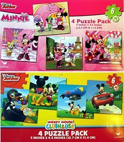 Disney Jigsaw Puzzles for Kids - Mickey Mouse & Minnie Mouse 8 Puzzles (6  Pieces each)