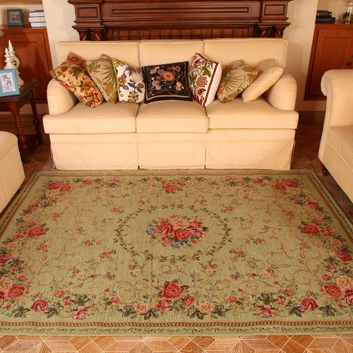 DIAIDI Pale Green Floral Western Rugs Rustic Area Rugs Vintage Shabby Traditional Rugs Floral Rugs Carpet Floral Print Rugs and Carpets for Home Living Room Country Cottage Rugs