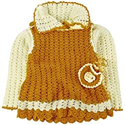 Snuggles Camisole Strapped Dress with Shrug and Coin bag crochet set - Mustard/Ecru (12-18M)
