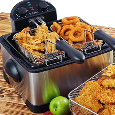 Secura Stainless-Steel Triple-Basket Electric Deep Fryer