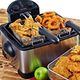 Secura 4.2L/17-Cup 1700-Watt Stainless-Steel Triple-Basket Electric Deep Fryer, with Timer ~ Secura