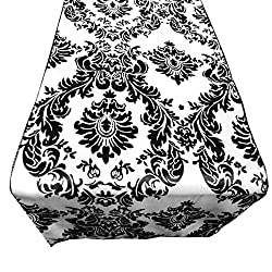 Satin Charmeuse Damask Table Runner. 13 X 60 100% Polyester