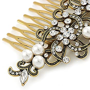 Vintage Inspired Clear Austrian Crystal White Glass Pearl Side Hair Comb In Gold Tone - 90mm