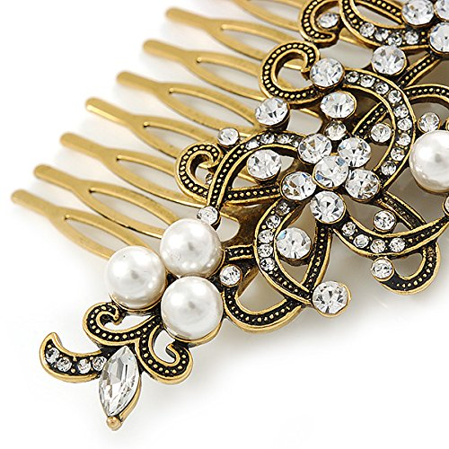 Vintage Inspired Clear Austrian Crystal White Glass Pearl Side Hair Comb In Gold Tone - 90mm 2