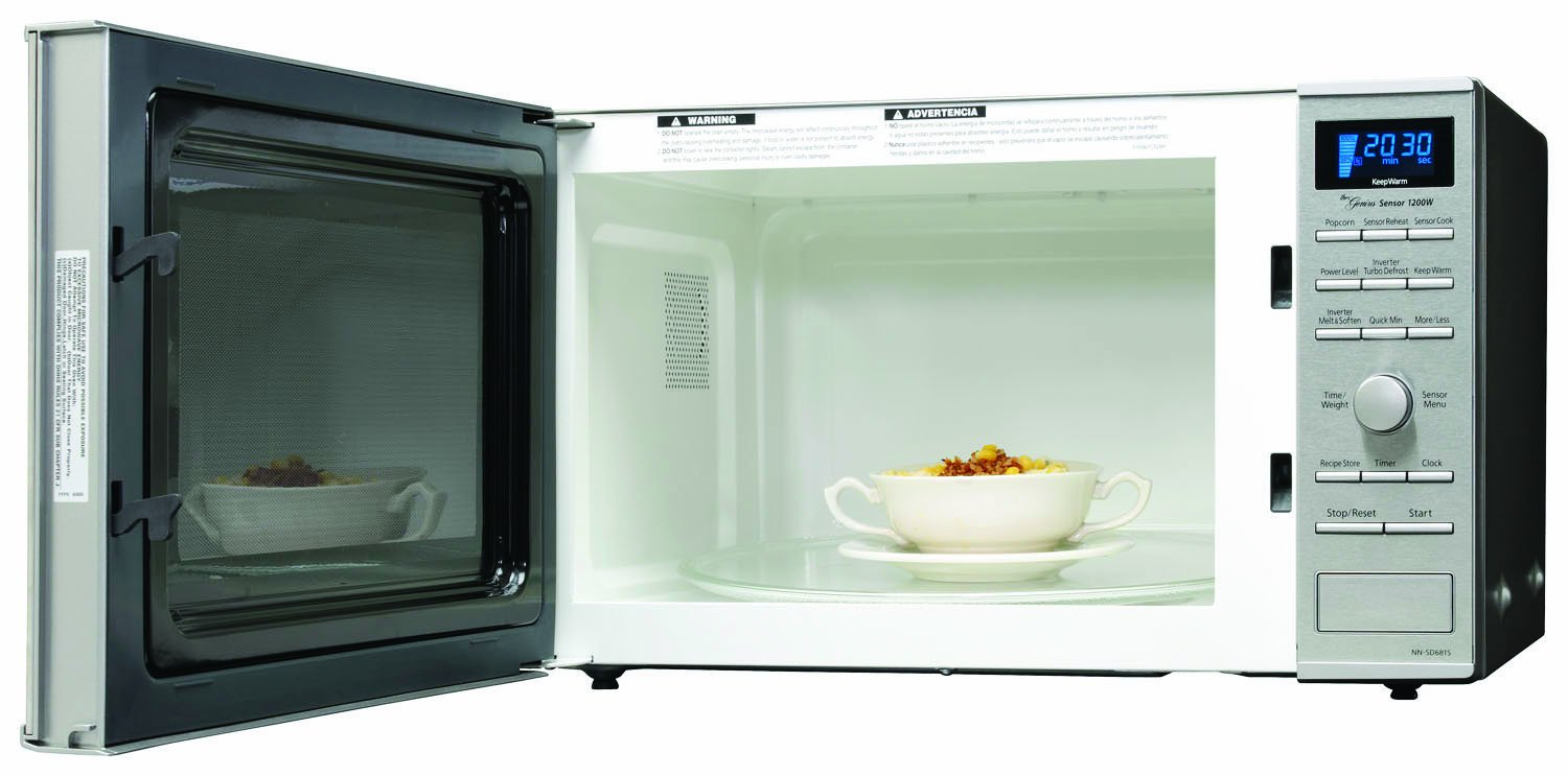Panasonic NN-SD681S, 1.2cuft, 1200 Watt Microwave with Inverter Technology and Blue Readout, Stainless Front