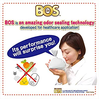 BOS, Amazing Odor-sealing Disposable Diaper Bags (90 Bags) [Size:M, Color:White]