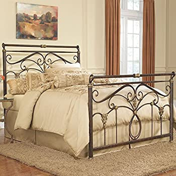 Fashion Bed Group Lucinda Complete Metal Bed and Steel Support Frame with Intricate Scrollwork and Sleigh-Styled Top Rails, Marbled Russet Finish, Queen