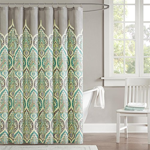 Madison Park 220-Thread-Count Cotton Sateen Nisha Shower Curtain, 72 x 72 Inch, Teal (Grey And Green Shower Curtain compare prices)
