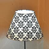 Craftter RAZWADA BOOTI White & Black Colour FABRIC TABLE Lamp Shade (CITLS-12)