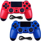 Wireless Controllers for PS4 Playstation 4 Dual Shock Six-axis,Bluetooth Remote Gaming Gamepad Joystick (Red and Blue) (Color: Red and Blue)