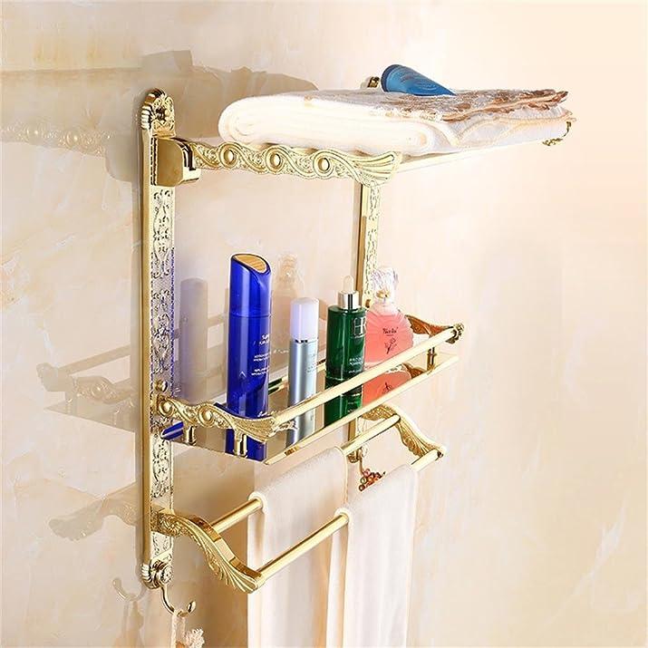 Uncle Sam LI- Lusso europeo intagliato dorato doppio piegata Towel Rack Portasciugamani Bagno rack a parete ( dimensioni : 60cm )