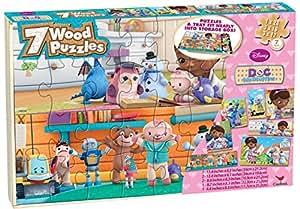 Doc McStuffins 7 Wood Puzzles in Wood Storage Box