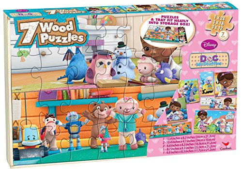 Doc McStuffins 7 Wood Puzzles in Wood Storage Box