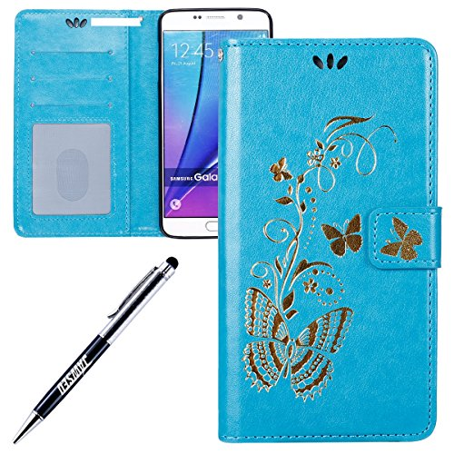 Galaxy-Note-5-LedertascheSamsung-Galaxy-Note-5-Flip-HlleJAWSEU-Neuheit-RetroVintage-Luxus-Gold-Schmetterling-Muster-LanyardStrap-Pu-Leder-Schale-Handytasche-Schutzhlle-Etui-Magnetverschluss-Book-Style