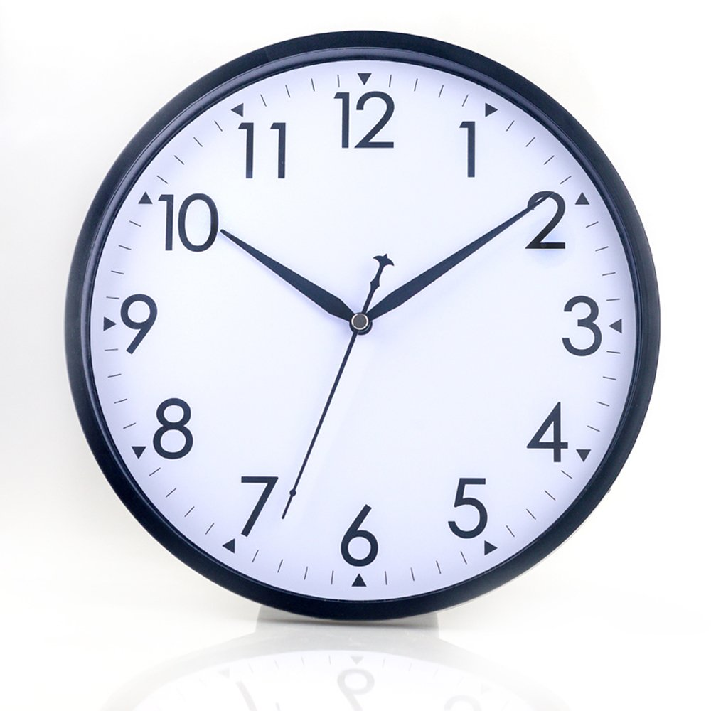 "Hippih 10"" Silent Quartz Decorative Wall Clock with Glass Cover Non-ticking Digital"