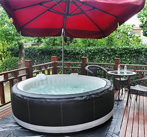 Homax Inflatable SPA 211 Gallons(800 Liter) 4-Person 130 Air Jets Include Accessories Round Portable Hot Tub SPA Easy Plug N Play, Black/Grey
