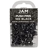 JAM PAPER Colorful Push Pins - Black Pushpins - 100/Pack (Color: Black, Tamaño: 100 Pack)