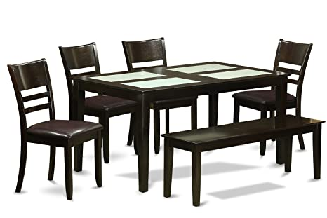 East West Furniture CALY6G-CAP-LC 6-Piece Kitchen Table Set with Bench
