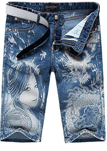 Jeansian Moda Pantaloni Casual Uomo Stampato Jeans Uomini Shorts in Denim MJB036 Blue W36