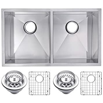 "Water Creation SSSG-UD-3118A 31"" X 18"" Zero Radius 50/50 Double Bowl Stainless Steel Hand Made Undermount Kitchen Sink with Drain and Strainers"