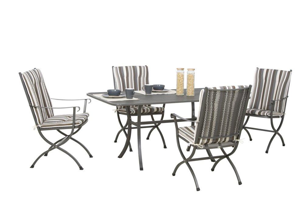 MWH Set Ambineo bestehend aus: Streckmetalltisch, Quadratrohr graphit, 4 Sessel Ambineo eisengrau, 4 Sesselauflage Pontos kaufen