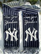 "NEW YORK YANKEES 100% Acrylic Winter Scarf 7"" Wide 64"" Long with Team Logo & Colors"