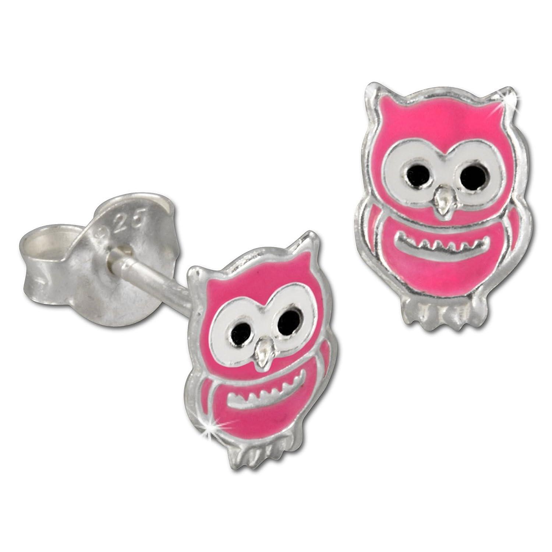 Tee-Wee Kinder Ohrring Eule rosa 925 Sterling