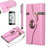 iPhone 5C case, iPhone 5c Wallet cover, ULAK Luxury Anchor Fashion PU Leather Zipper Wallet Wristlet Flip Case Cover For Apple iPhone 5C with Screen Protector and Stylus (Rose red)