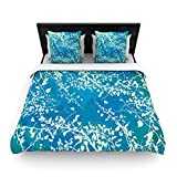 "Kess InHouse Iris Lehnhardt ""Twigs Silhouette Teal"" Aqua Green King Woven Duvet Cover, 88 by 104-Inch"