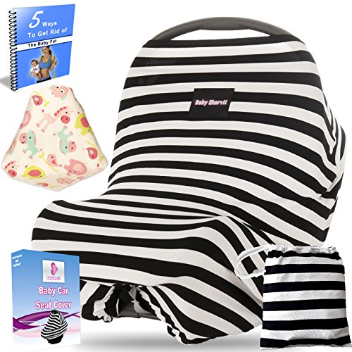 Baby Car Seat Cover Canopy, Nursing Cover\ Breastfeeding Cover, Shopping Cart Cover \ high Chair Cover - 4 IN 1 - Unisex - Black and White - rayon - 2 free bonus And Carrying Case. By Baby Sharvit (Disney Princesses Car Seat Covers compare prices)