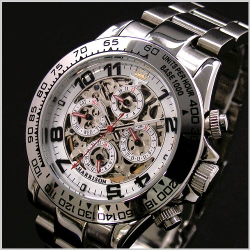 J.HARRISON(ジョンハリソン)多機能両面スケルトンタイプ機械式腕時計(自動巻き)・白文字盤【正規輸入品】 JH-003SW