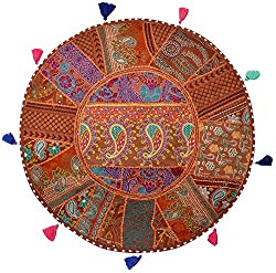 Handmade Khambadia round Cushion cover vintage gaddi throw boho bohemian pillow embroidered pillow couch cover floor cushion cu2205