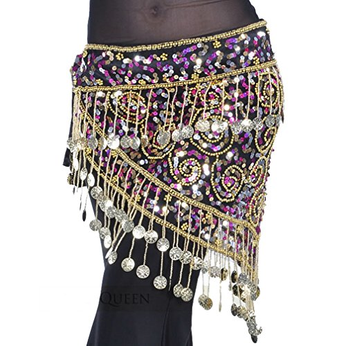 Belly Dance Hip scarf Wrap , Halloween Costume Waist Chain with Gold Coins